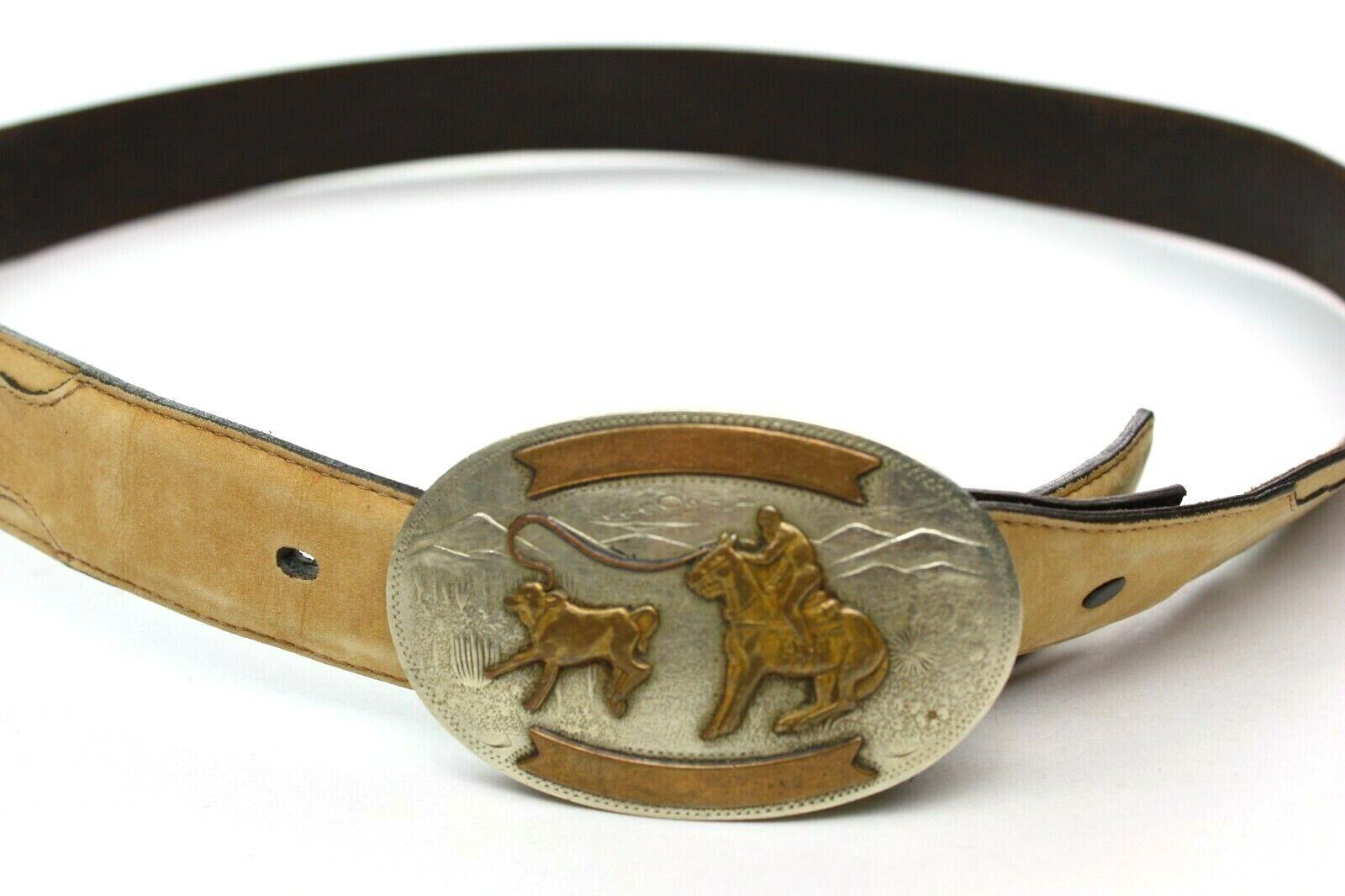 Comstock German Silver Belt Buckle Calf Roping Rodeo w/ Genuine Leather Belt