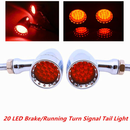 2xUniversal Motorcycle Red Color 20 LED Amber Turn Signal lights Rear Brake Lamp