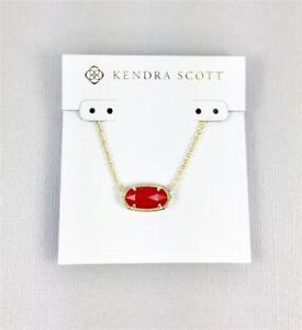 New Kendra Scott Elisa Ruby Red Pendant Gold Tone Necklace Ebay