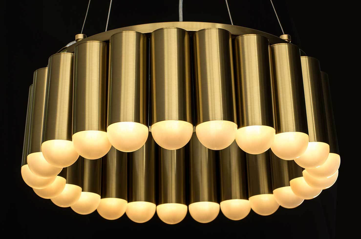 Stunning brass chandelier with 23 LED lights inspirot by Lee Broom Carousel.