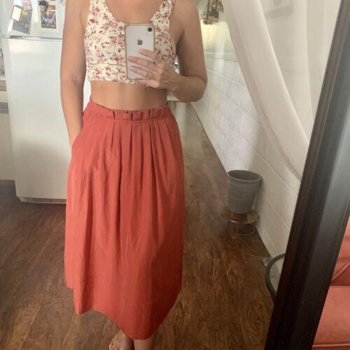 J. Crew Coral Midi Skirt