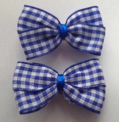 Royal Blue Gingham School Hair Ribbon Scrunchie Bobble//Band Clip Slide Bow