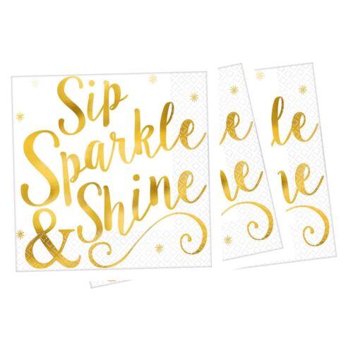 16 or SIP Sparkle Shine serviettes de Noel Nouvel An Fête De Noël Table