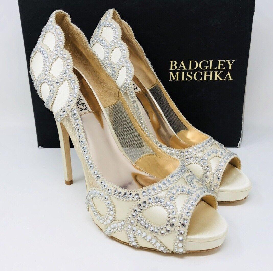 Badgley Mischka Witney & Embellished Satin & Witney Mesh Platform Pumps Size 10 Silver c87ec0
