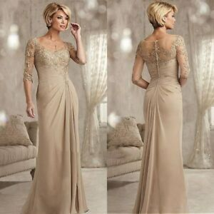Champagne-Mother-Of-The-Bride-Groom-Dresses-Half-Sleeve-Lace-Wedding-Formal-Gown