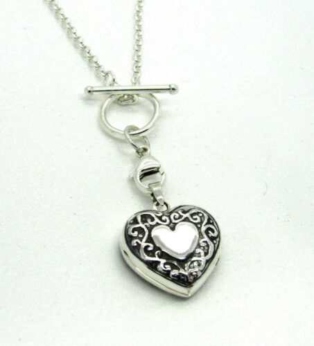 Solid 925 Sterling Silver Decorative Heart Locket Necklace Box Toggle Chain Gift