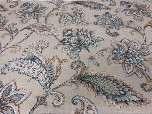 Vintage Mitford Jacobean Linen Grey//Blue Designer 140cm wide Curtain Fabric