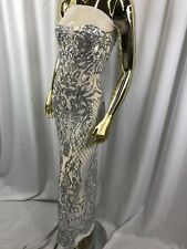 VAIN SEQUINS LOUNGE DRESS FABRIC BY THE YARD BRIDAL FASHION PROM DECOR White