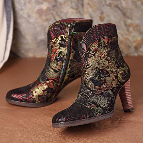 SOCOFY Women Genuine Leather Splicing Jacquard Zipper Ankle Boot High Heels