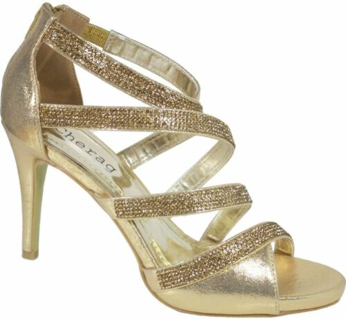 UK 3-8 S380 Ladies Diamante Bridal High heeled Party Evening Sandals