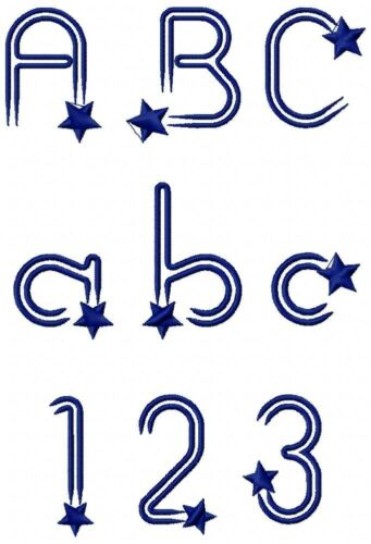 Shooting Stars Font Machine Embroidery Designs 5 sizes