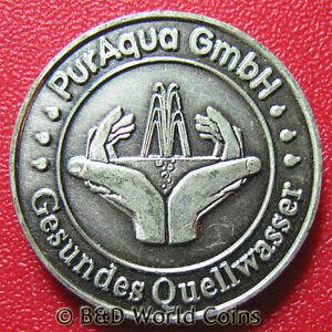 5-PFITSCH-TALER-PURE-SPRING-WATER-AQUA-GERMAN-ADVERTISING-TOKEN-PEWTER-13gr-30mm