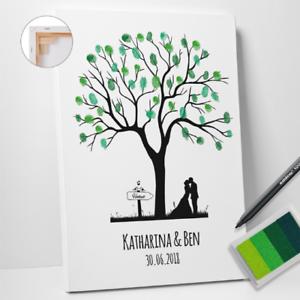 Das Bild Wird Geladen Hochzeitsbaum Weddingtree Leinwand Hochzeit Fingerabdruck Gaestebuch SET