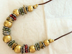 ACCESSORIZE-LONG-NECKLACE-LARGE-MATT-GOLDTONE-BEADS-GREEN-amp-RED-FACETED-BEADS