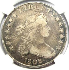 1802 Draped Bust Silver Dollar $1 Coin - Certified NGC Fine Details - Rare Date!