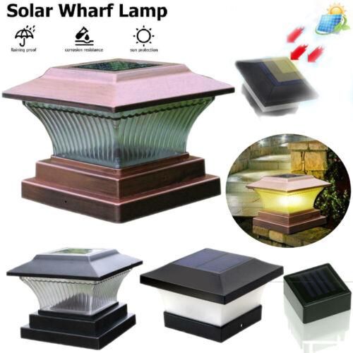 Outdoor Garden Solar Power LED Post Deck Cap Square Fence Light Landscape Lamp #