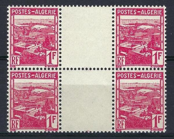 Algérie 1941 Sc # 134 Vue D'alger Colonie Française Gouttière Bloc 4 Neuf Sans Charnière Brillant