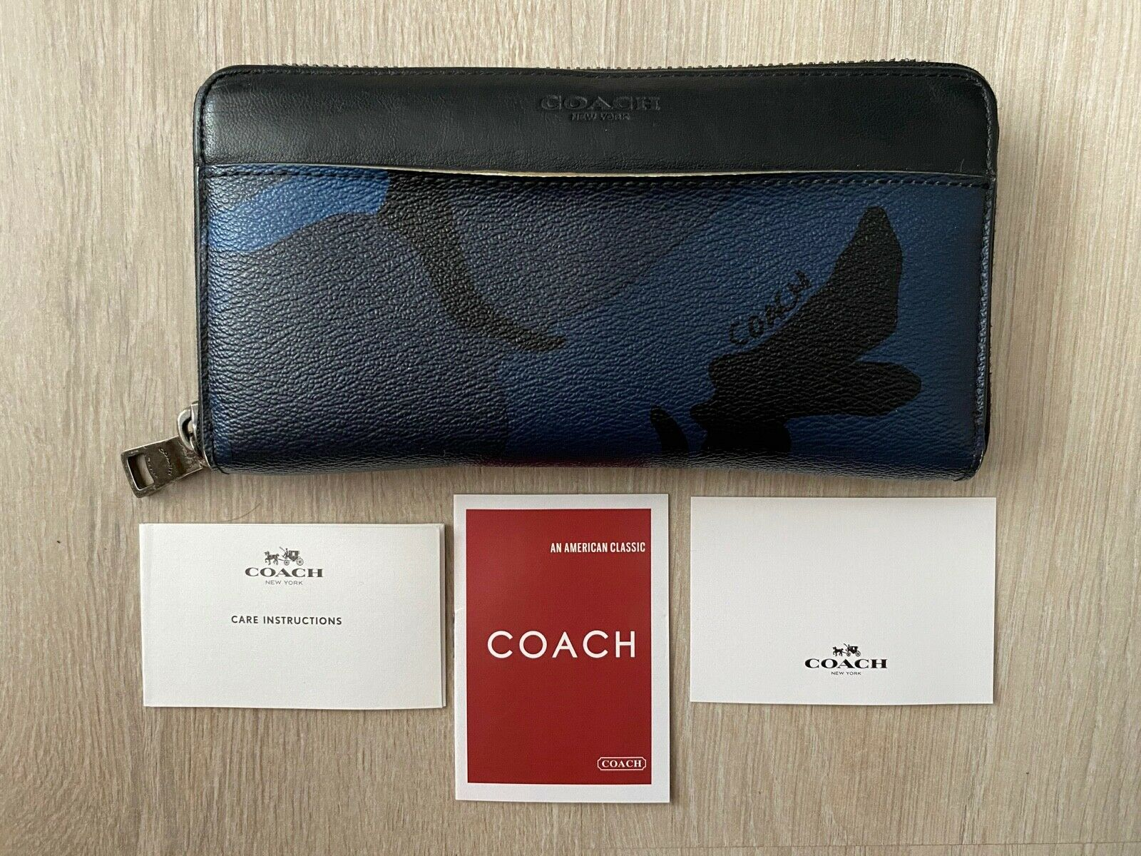 COACH Wild Beast Camo Military Blue Leather Zip Around Long Wallet Purse
