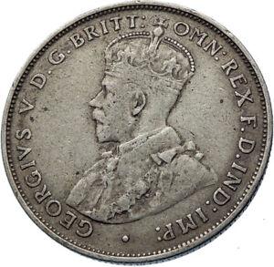 1935-AUSTRALIA-UK-King-George-V-Kangaroo-Silver-Florin-Australian-Coin-i72429