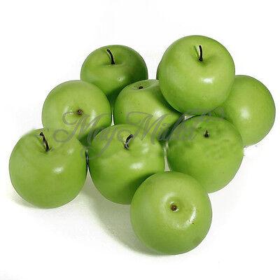Hot Sale Plastic Artificial Decorative 10 Pcs Big Green Apples O