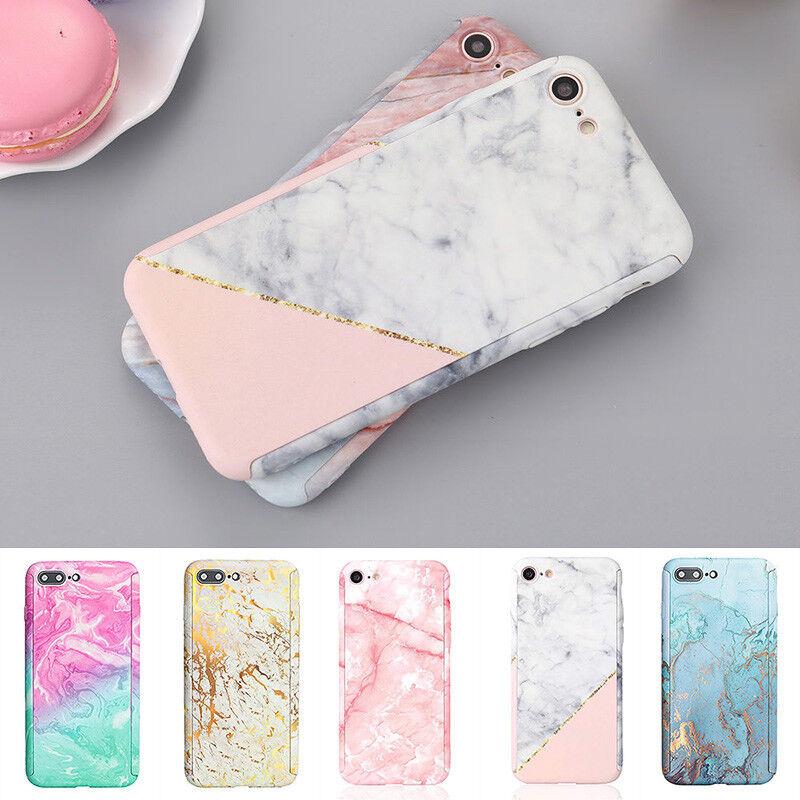 Estuche para iPhone XS 6s 7 8 Plus 5S Funda 360 Mármol Ultra delgado híbrido a prueba de golpes