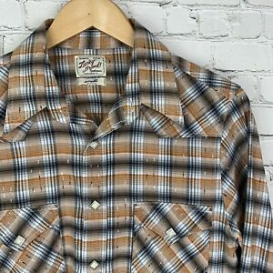 Men-039-s-Lucky-Brand-Small-Orange-Pearl-Snap-Front-Plaid-Western-Style-Shirt-EUC