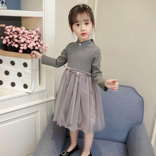 Kinder Kleid Herbst Frühling Perlen Mädchen Prinzessin Kleid Prom Party C332 HC