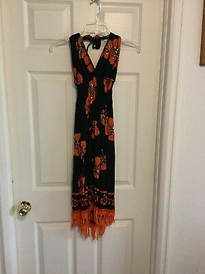 Ladie's Beach Dress Black w/ Orange Hibiscus Knotted Hem Sequins/Beads Small?