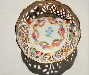 c1950 Vintage Schumann Bavaria Reticulated 4 Inch Round Bowl