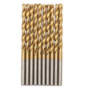 Pack of 10 NEW Coated HSS Standard Jobber Drill Bits Set Size 11//64/'/'