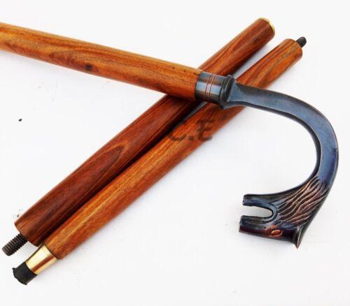 Vintage  Wolf Fox Antique  Walking Cane Wooden Stick Brass Handle Stick Style