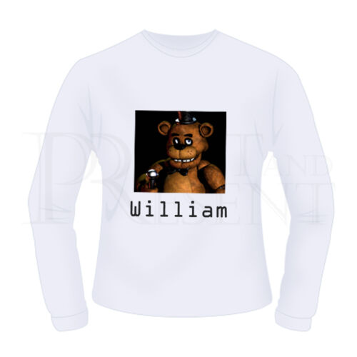 Personalised Boys Five Nights At Freddy/'s FNAF Long Sleeve T-Shirt White