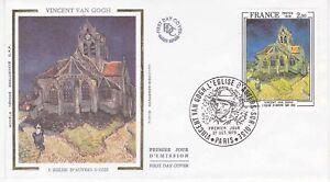 Enveloppe-maximum-1er-jour-FDC-Soie-1979-Tableau-Eglise-Auvers-sur-Oise-Van-Gogh