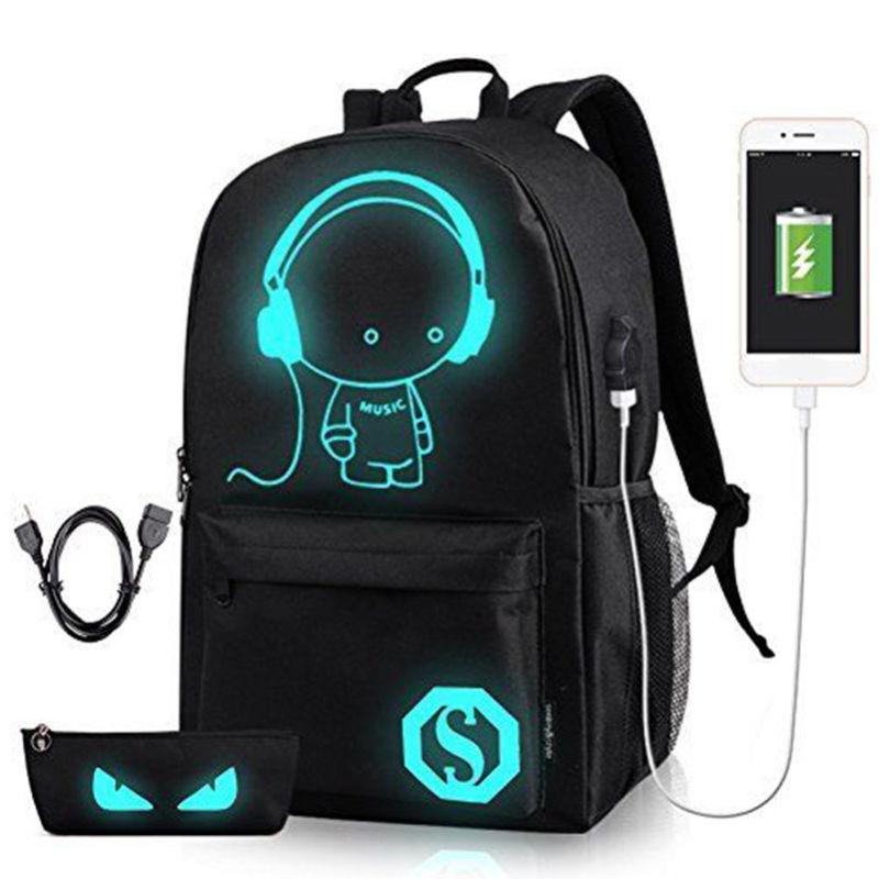 Night Luminous Backpack Boys Girls USB Charging Bookbag Scho