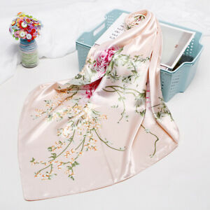 Women-Fashion-Pink-Scarf-Flower-Print-Soft-Satin-Head-Shawl-Hijab-Wraps-35-034-35-034
