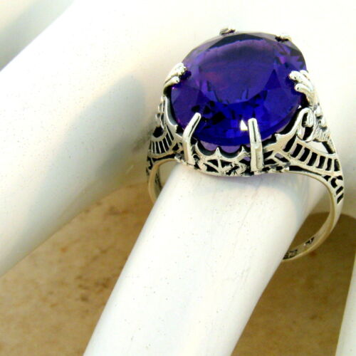#996 VICTORIAN 925 STERLING SILVER 7 CARAT LAB AMETHYST ANTIQUE STYLE RING