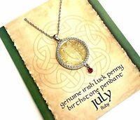 Irish Lucky Penny Birthstone Pendant Necklace - July, Ruby Crystal