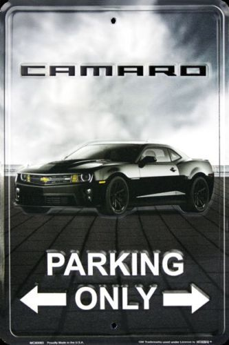 """Camaro Parking Only 8/""""x12/"""" Collectible Aluminum Metal Plate Parking Sign"""