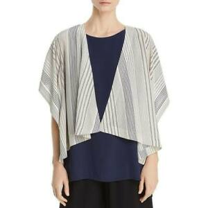Eileen-Fisher-Ivory-Striped-Silk-Open-Front-Kimono-Top-Jacket-SZ-L