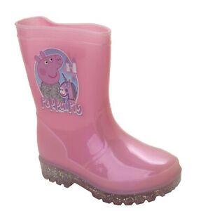 Childrens Kids Girls Pink Peppa Pig Wellies Wellington Rain Snow Boots Size 5-10