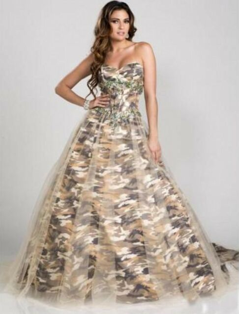 2018 Camo Wedding Dress Formal Ball Gown Camouflage Beading Bridal ...