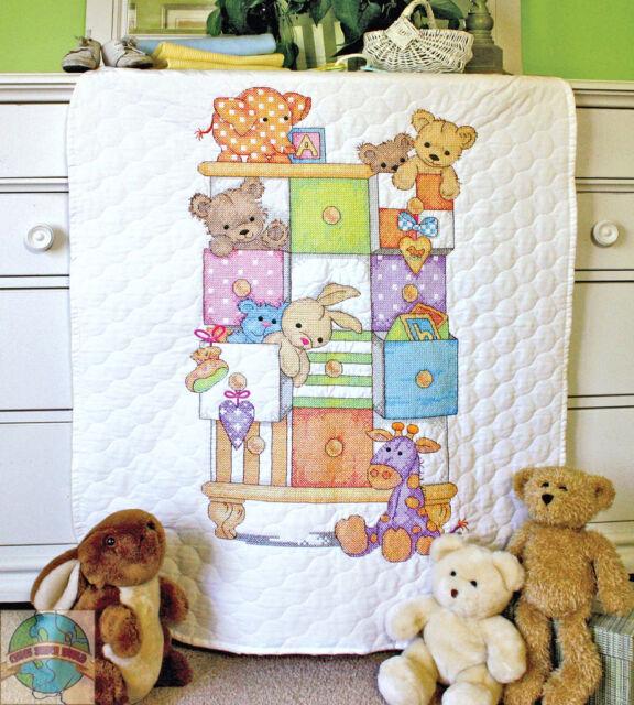Cross Stitch Kit ~ Dimensions Animals & Drawers Baby Crib QUILT #73537