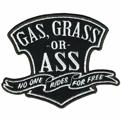 """GAS; GRASS OR ASS Iron-On Saw-On Rayon PATCH 4/"""" x 3/"""""""