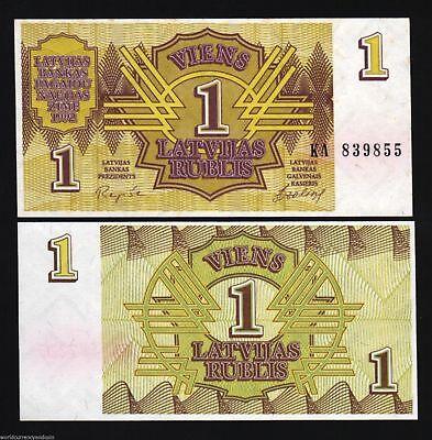 LATVIA 1 RUBLI P35 1992 1st BANK NOTE INDEPENDENCE UNC MONEY BILL EUROPEAN EU