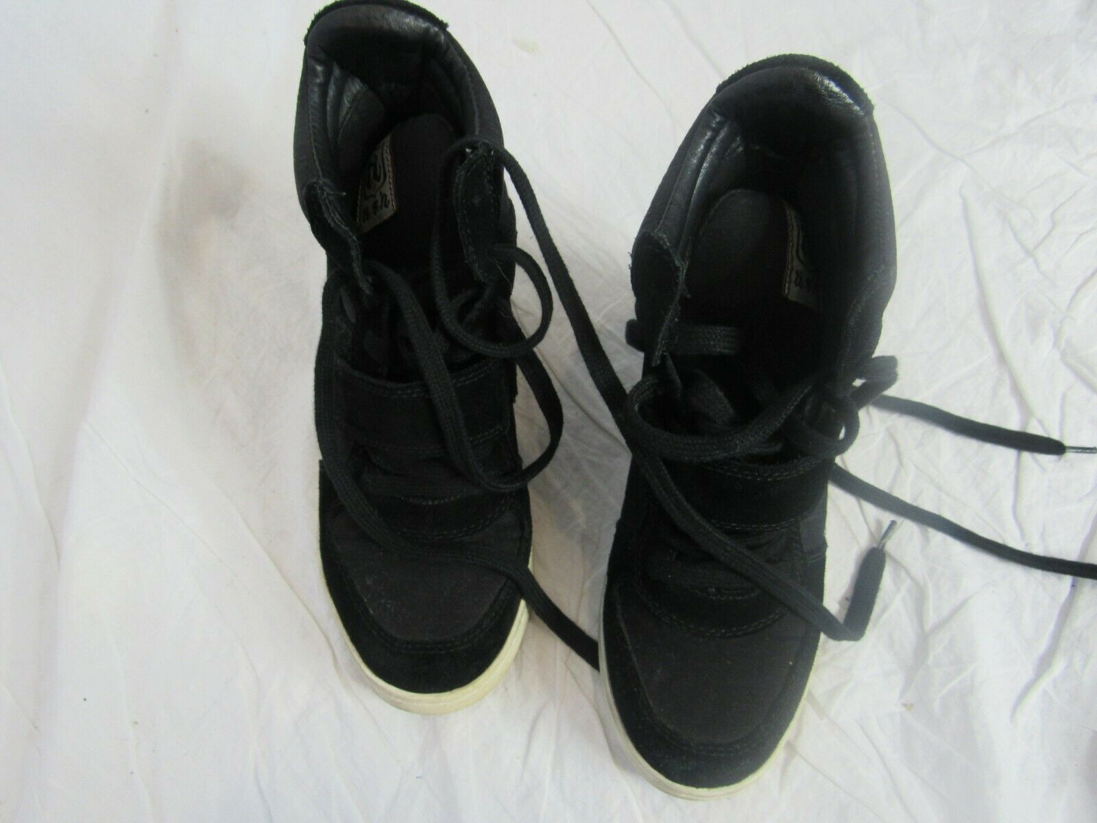 Ash Black Lace Up Wedge Sneakers Size 38
