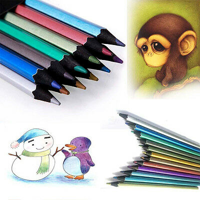 Marco 12 Metallic Colored Pencil Non-toxic For Drawing Sketching Set Stationery