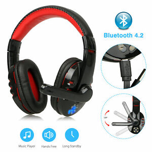 Bluetooth-Wireless-Gaming-Headset-for-Cellphone-Tablet-W-Mic-LED-Volume-Control