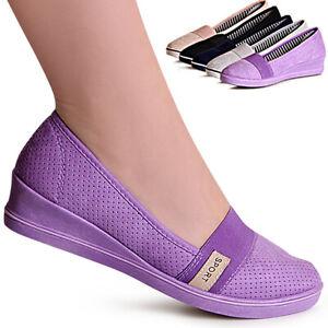 Da-Donna-Zeppa-SLIPPER-CAMOSCIO-PLATEAU-BALLERINA-Sneaker-Scarpe-Da-Ginnastica-Scarpe-Basse