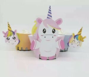 Party Supplies Lolly Loot Bag Bunting Cake 12x Unicorn Star Cupcake Wrapper