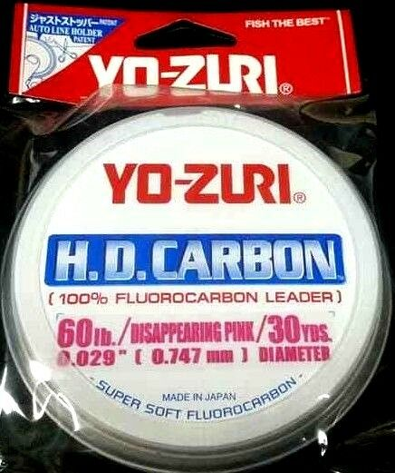 Yo-Zuri HD Carbon Flugoldcarbon Leader 60 lb  30 yds x 1 disappearing pink spool  up to 60% discount